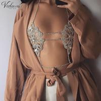 Vedawas Vintage Gold Gold / Argento Colore Braccio Braccia Bra Catena multistrato Donna Collana Fiore Flower Sexy Body Metal Catena Bra Catena 1702 T200508