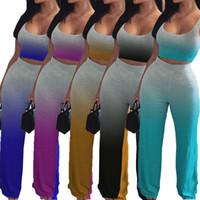 Senza maniche Sexy Gradiente Colore T Shirt Crop Top Pants Outfits Plus Size Tracksuit Ladies Donne Sport estivi Sport Due pezzi Set H2516