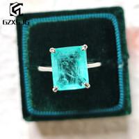 GZXSJG Paraíba Tourmaline gemas Anel por Mulheres pedra de corte sólida prata esterlina 925 10x12 Emerald para o engajamento Belas 201112