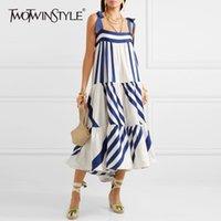 Twotwinstyle Çizgili Spagetti Kayışı Uzun Kadın Elbiseleri Rahat Kapalı Omuz Geri Alt Yay Dantel Up Kadın Giyim Moda Y200102