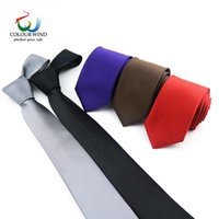 Cravate à cou attachée pour hommes 6 cm largeur de polyester couleur solide couleur personnalisé étroit 2.36inch broyé gentleman gravata