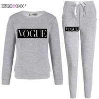 Xuancool 2020 트랙 슈트 여성용 가을 겨울 패션 유행 편지 긴 소매 셔츠 긴 바지 세트 여성 복장 S-XXL C1103