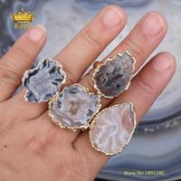 Cluster Ringe 5 stücke Rock Druzy Verstellbare Lieferungen, Natürliche Achate Scheibe Perlen Multistone Ring, Druzy Beauty Charms Schmuck