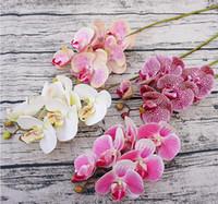 6pcs Flower Flower PU Orchid Orchid di alta qualità fiori di seta decorazione della casa festa di nozze farfalla orchidea fiore artificiale T200509