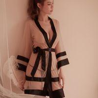 Сексуальный халат искушение прозрачные сетчатые платья для спячников женщина свадебные халаты с длинным рукавом марля халат халат 210203
