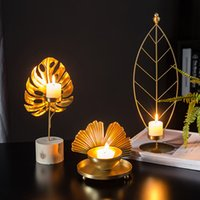 Imitation Kupfer Legierung Kerzenhalter Party Hochzeit Dekorationen Kerzenständer Gold Metall Pflanze Blätter Kandelaber Tisch Mittelstück LJ201018
