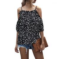 Verão Mulheres Roupas Ruffles Blusa Camisas Bolinhas Imprimir Tops Beach Túnica Blusas Do Vintage Backless Off Shirt Camiseta D301
