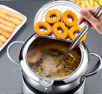 Friggitrice Pan Thermometre Tempura friggitrice Pan Mini acciaio inossidabile Stock Pots termometro olio gocciolamento rack da cucina Strumenti di utensile da cucina OWD1247