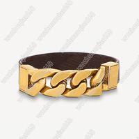 Braccialetto di moda in titanio Lettera d'acciaio Lettera Coppia Braccialetto Trendy Flower Bracciale in pelle Braccialetto di alta qualità Placcato oro gioielli