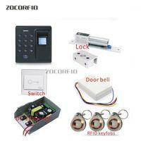 Контроль доступа отпечатков пальцев RFID Дверной системной системы набор + забастовка + RFID Crystal Keypad + кнопка выхода в Stock1