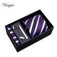 2020 мужская галстука полиэстер шелковые жаккардовые тканые галстуки Hanky Cufflinksclips наборы для формальной свадьбы деловая вечеринка подарочная коробка Pack1