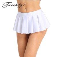 Femmes Écolière Sexy Solide Haute Low Raufrage confortable Mini Jupe plissée Mini Vêtements de nuit Clubwear Good Women's Bonne mini jupe J0118