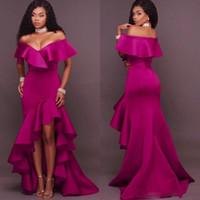 Fushia Robes de bal sirène sud-africaine de l'épaule Robes de soirée Haut Bas Volants Plus Size Party Dress Formal pas cher