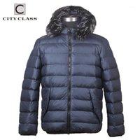 Herren Down Parkas City Class Klassische Marke Winter Männer Mantel Businessjacke Abnehmbare Haubenfell Mode für männlich CC60751