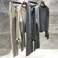 Jxmyy di alta qualità lana lana a maglia 2 pezzi set cashmere maglione sciolto pullover elastico elastico pantaloni da donna vestito donne tracksuit 201120