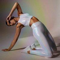 Cuero de la PU del brillo blanco brillante Yoga Pantalones Sexy Plus Size entrenamiento deportivo de las polainas de la aptitud tejido sin costuras gimnasio Mujeres Medias