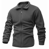 Men Jacket Fashion Coat Zipper Turn Down Collar Fleece Coats Solid Color Long Sleeve Winter Warm Mens Jackets