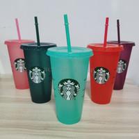 Sıcak 24 oz / 710ml Starbucks Sequins Plastik Tumbler Kullanımlık Temizle İçme Düz Alt Kupası Sütun Şekli Kapak Saman Kupa Bardian