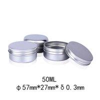 50pcs 50g de aluminio de la lata de metal tarros 50ml Vacío cosmética facial Eye Care Cream Gloss Lip Balm Embalaje