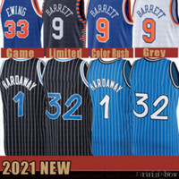 2021 New Shaquille Basketball Jersey 32 MENS PENNY 1 Hardaway Mesh Tracy 1 McGrady Retro RJ 9 Barrett Billig Patrick 33 Ewing Grey