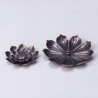 레트로 연꽃 모양의 향로 금속 향 좌석 여섯 구멍 가정용 아로마 테라피 오븐 새로운 도착 4 9ny J2