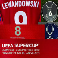 2020 Super Copa Final Lewandowski Jogador Desgastado Jogador de Jogador Muller Kimmich Martinez com Details Detalhes Futebol Patch Home Têxtil