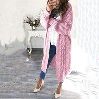 Umeko sonbahar ve kış kadın moda rahat katı uzun kollu cepler boy giyim örme hırka giysi ceket 201031