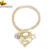 Braccialetti di fascino oppohere moda argento donne gioielli gioielli in cristallo catena del pendente