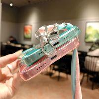 İPhone 12 11 Pro Max XS XR X 8 7 Artı Floresan Temizle Kordon Silikon Telefon Kılıfı El Kayışı TPU Kapak