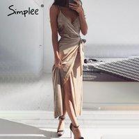 Simplee Wrap Kadife Seksi Uzun Kadın Elbise Katı Backless Club Kış Elbise Spagetti Kayış Yarık Yay Feminino Parti Elbise Vestido 201204