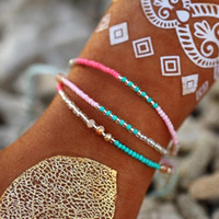Bohemian Красочные Плетеные бусины Многослойный браслет Симпатичные Плетение из бисера Веревка Wrap браслеты ножные браслеты женщин ювелирные изделия