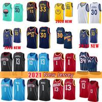 Stephen 30 Köri Klay 11 Thompson Basketbol Formaları James13 Harden 33 Wiseman John 1 Duvar Formaları 2021 Yeni