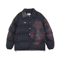Carácter original de la impresión gruesas de invierno Outwear Parka hombres y mujeres de gran tamaño informal acolchado abrigo suelto chaqueta rompevientos