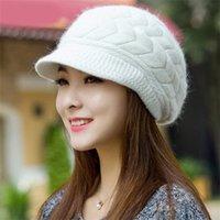 Осень зимние моды шапочки вязаная шляпа кролика меховой шапки схватки крышка леди женские полосы полоса черепашки женские шляпы gorrosx1023