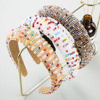 Rainbow Flower Crystal Hairband Hairband para mujer cabeza Bezel Hoop Hoop Rhinestone Pearl Headbands 26 colores