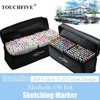 Touchfive 168 colores Marcadores de arte a base de alcohol aceitoso conjunto Doble Sketch Marker Artist Brush Pen For Manga Agua Pens Y200709