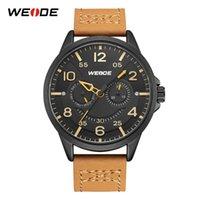 Relogio Masculino Weide Nieuwe herenhorloges Casual Model Model Heren Watch Analog Lederen Leger Quartz Horloge