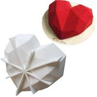 2021 Moules de silicone cardiaques cassables pour moules de gâteau au diamant au chocolat Diamond moules cardiaques pour la cuisson de mousse au chocolat