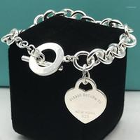 Charme Braceletes Originais Senhoras S925 Sterling Silvers Clássico Coração Tag Círculo Letra O-Shaped Homens Pulseira Jóias Casal Casal Presente de Feriado1