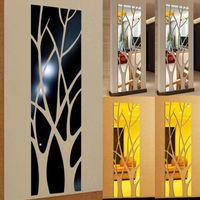 3D 트리 디자인 거울 스티커 현대 홈 거실 침실 장식 아크릴 자기 접착제 이동식 DIY 아트 데칼 벽화 벽 스티커