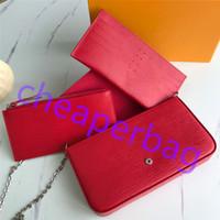ثلاث قطعة بدلة محفظة حقيبة براون إلكتروني زهرة جلد طبيعي سلسلة حقائب الكتف حقيبة مصغرة محافظ بطاقة حامل الأزياء LE6688 موثوق بهم على Sale