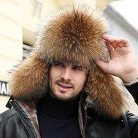 Kış erkek 100% Gerçek Gümüş Tilki Kürk Bombacı Şapka Rakun Kürk Ushanka Kap Trapper Rus Adam Kayak Şapkalar Caps Gerçek Deri LJ201225