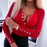 여성 v 목 쇼핑 숙녀 긴 소매 티셔츠 가을 단단한 파티 버튼 섹시 한 매일 캐주얼 칵테일 니트 탑스
