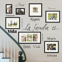Free Shipping Spanish Wall Art Decals La Familia Es Vinyl Lettering Words Quote Sticker Mural For Photo Frame Decoration 201203