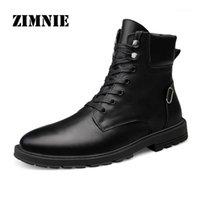 Stiefel Zimnie 2021 Männer Echtes Leder Schuhe für Winter Schnee Wasserdichte Abendessen Warme Mode Herbst Casual Knle Men1