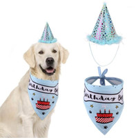 Party Pet Dogs Caps Cat Dog Bibs Birthday Costume Design Hea...