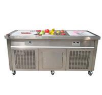 우리는 10 개의 작은 냉동고 튀긴 아이스크림 롤 머신을 가진 도어 부엌 장비 ETL 더블 스퀘어 프라이팬에 전달