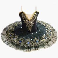 Black Professional Ballet Tutus para niñas Niño Niño Swan Lago Ballet Vestido de baile Ropa de baile Panqueque Bailarina Figura Patinaje Dress1