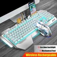 Multi-funzione LED variopinta impermeabile Wireless Mouse Luce USB Keyboard set con il supporto del telefono Pen Stand Scheda di memoria