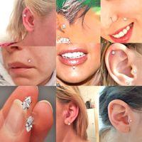 Bog-24pcs / boîte mixte 7 designs Bioplast Flexible Stud Lèvre Bague à lèvres Horse Eye Eylips Ear Tragus Ear Cartilage Boucle d'oreille Piercing Q Squceptxa